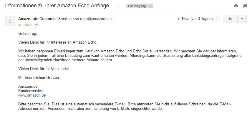 Amazon Echo Einladung