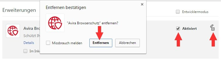 Chrome Browserschutz deaktivieren deinstallieren