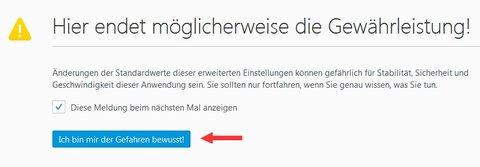 Fehler Gesicherter Verbindung fehlgeschlagen Firefox Config