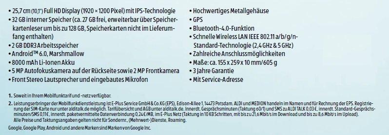 Medion Lifetab X10302 ALDI-Tablet technische Daten