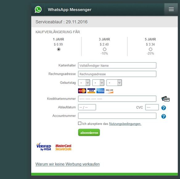 WhatsApp Messenger Zahlungsinformationen