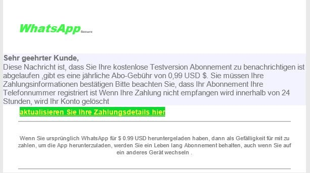 WhatsApp Testversion Phishing