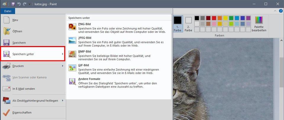 Windows Paint: Hier speichert ihr euer Bild schnell unter einem anderem Bildformat ab.
