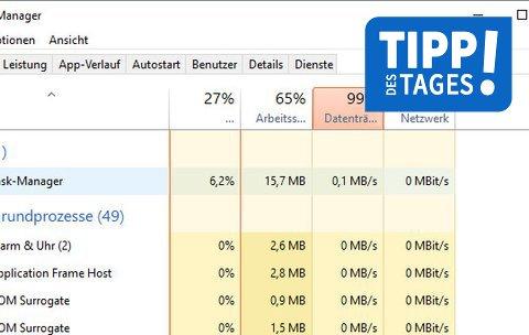 Datenträger 100 Auslastung Windows 10