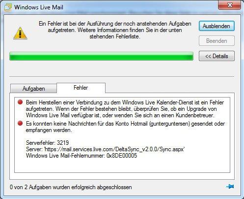 Fehler 3219 erscheint plötzlich, wenn ihr Windows Live Mail nutzt.