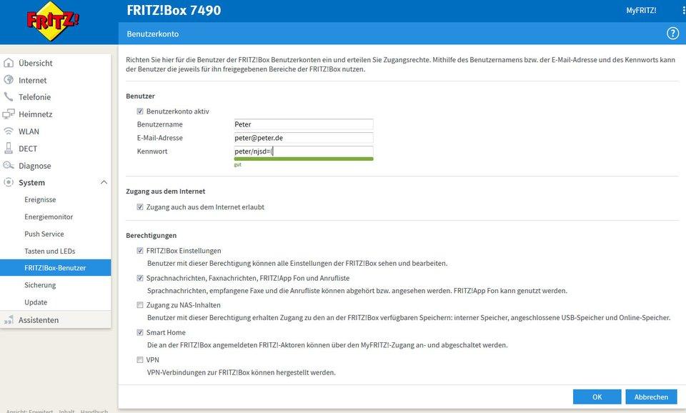 Neuer Fritzbox-Benutzer: Unten vergebt ihr die Berechtigungen.