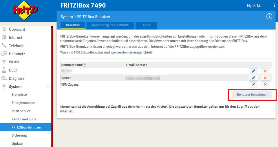 Hier erstellt ihr einen neuen Fritzbox-Benutzer(namen).
