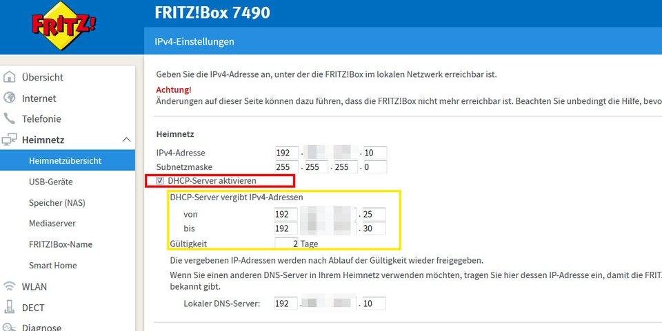 Fritzbox-Router: Hier könnt ihr DHCP aktivieren oder deaktivieren.