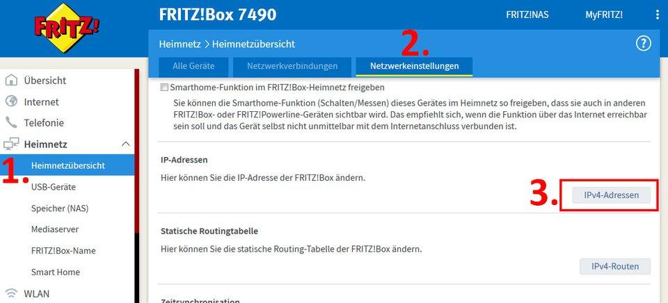 Fritzbox: Hier findet ihr die DHCP-Einstellungen.