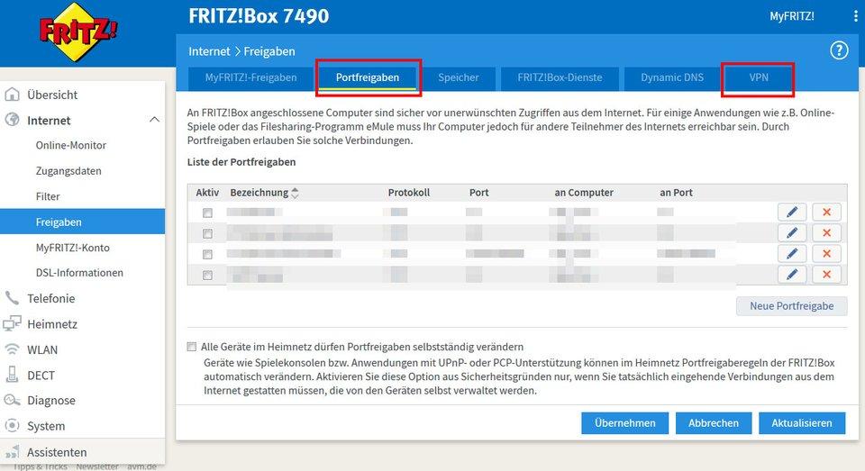 Per Portfreigaben und VPN-Einstellungen könnt ihr die Fritzbox-Firewall-Einstellungen ändern.