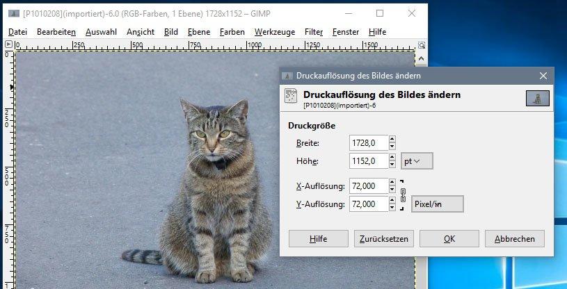 In GIMP findet ihr beide Varianten zur Änderung der Auflösung in unterschiedlichen Dialog-Fenstern.