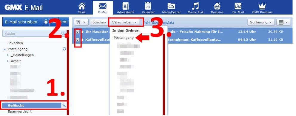 GMX: E-Mail löschen & gelöschte Mails wiederherstellen