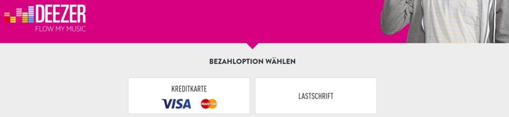 Deezer bei Lidl: Die Bezahloptionen für das Monatspaket (Quelle: Screenshot Lidl)