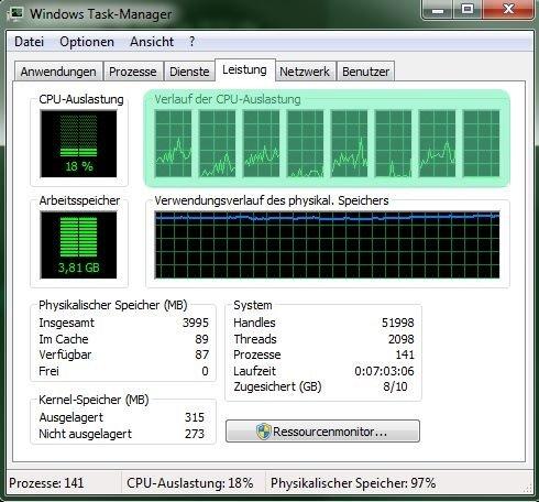 Die Anzahl der Kästchen zeigt eure CPU-Kerne.