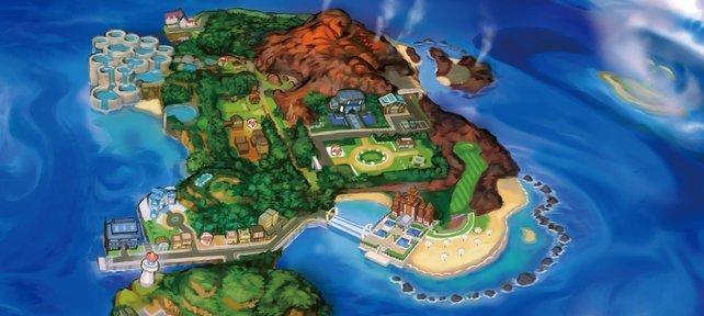 Akala besitzt zwei große Städte direkt am Meer (Kantai City und Konikoni City) und eine Siedlung (Ohana).