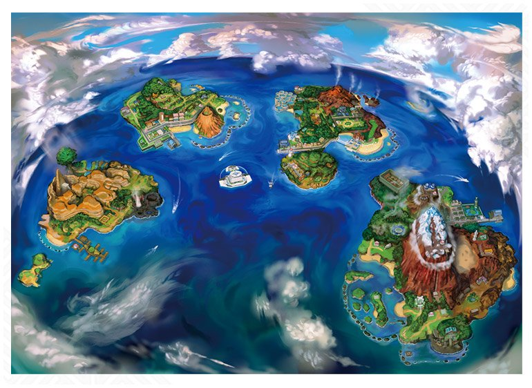 Die Alola-Region besteht aus vier Inseln, die mit unterschiedlichen Prüfungen und Königen aufwartet,