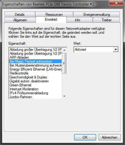 Realtek-Netzwerkadapter: Das Magic Packet ist aktiviert.