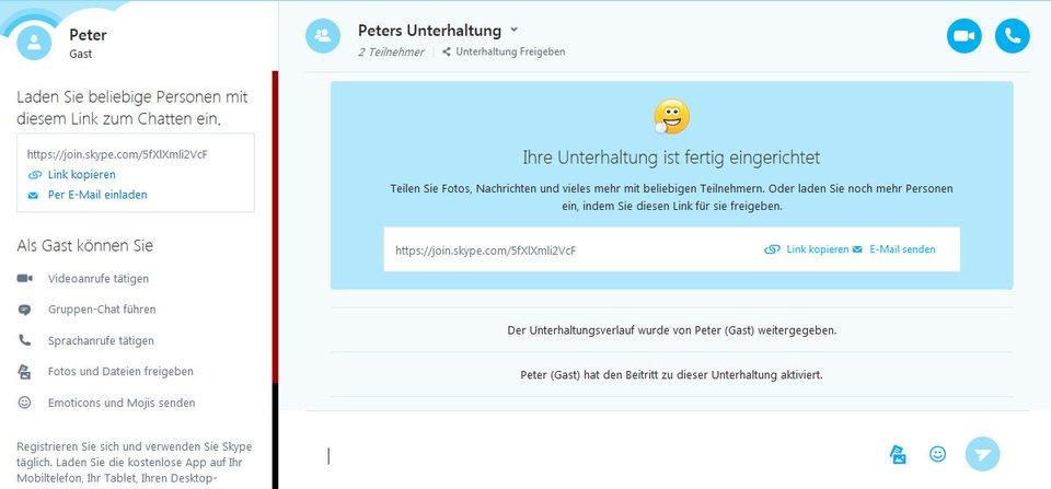 Die Skype-Konversation ist gestartet. Ihr benötigt nun den Link, um andere einzuladen.