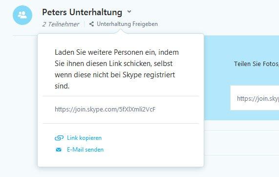 Unterhaltung freigeben: Hier seht ihr den Skype-Link.