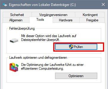 Windows 10: Hier prüft ihr eure Festplatte auf Fehler.