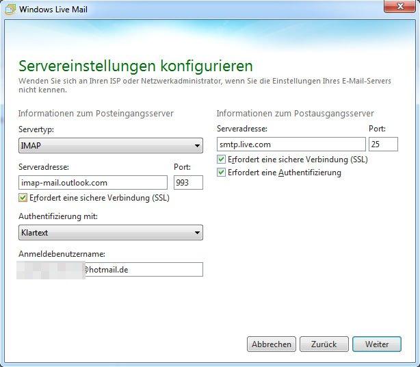So sehen die richtigen Server-Einstellungen für Windows Live Mail aus.