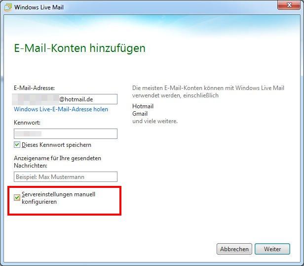 Setzt das Häkchen, um die Mail-Kontoeinstellungen selbst zu bestimmen.