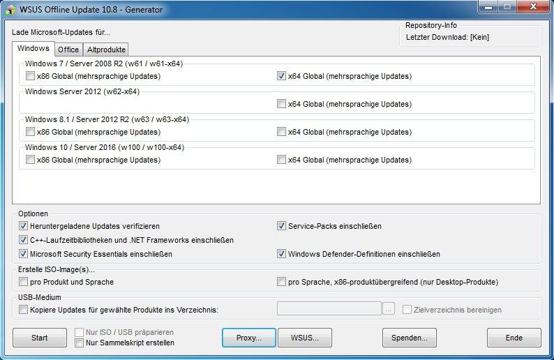 WSUS Offline: Hier bestimmt ihr, welche Windows-Updates ihr herunterladen wollt.