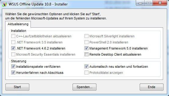 Wählt die Optionen zur Installation der Offline-Updates aus. Euer Dialog hat womöglich mehr Optionen.