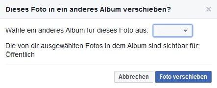 Facebook Album auswählen