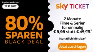 Sky Ticket Angebot zum Black Friday: 2 Monate Entertainment & Cinema für 9,99 €