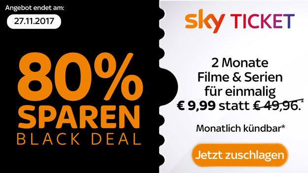 Sky Ticket Angebot zum Black Friday: 2 Monate Entertainment & Cinema für 9,99 €