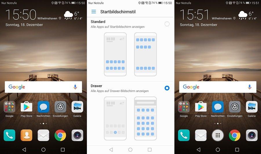 Huawei EMUI 5 App Drawer