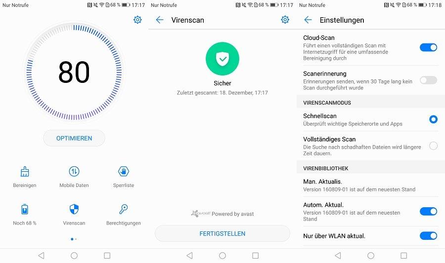 Huawei EMUI 5 Virenscanner