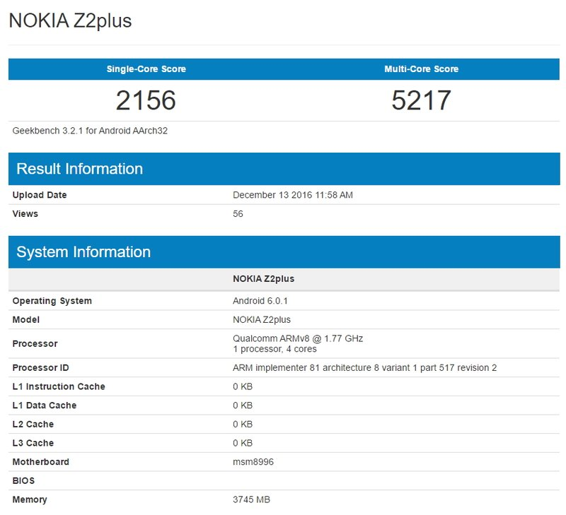 Nokia Z2 Plus Geekbench