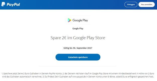 Google Play Store: Zwei Euro Guthaben von PayPal geschenkt