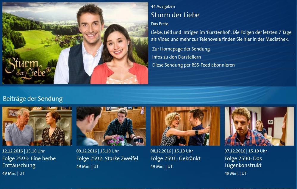 Sturm Der Liebe Folgen In Der Mediathek Per Live Stream Als