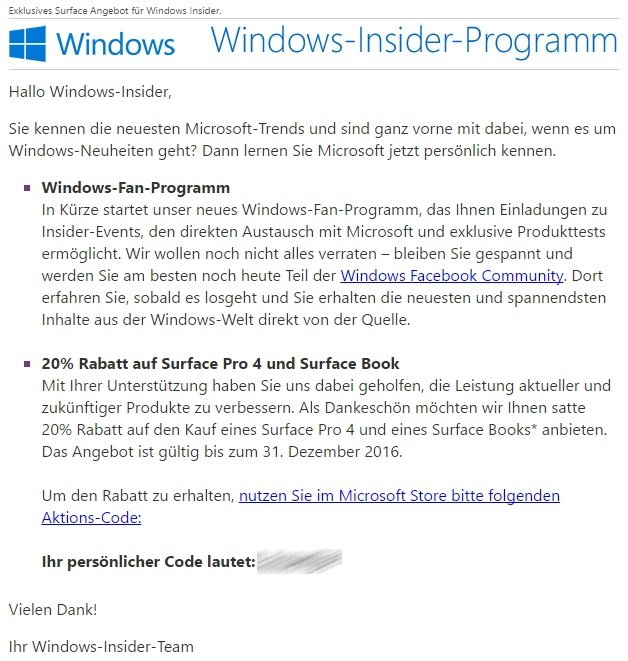 Windows Insider Fan Programm Rabatt