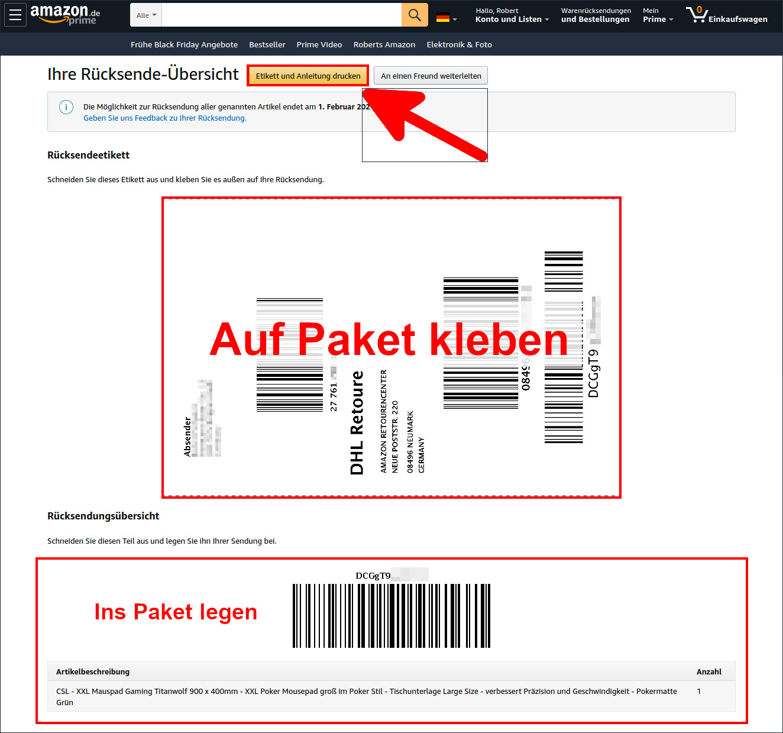 Amazon retoure neu bestellen
