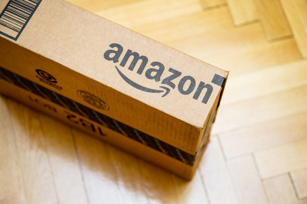Amazon logotype printed on cardboard box