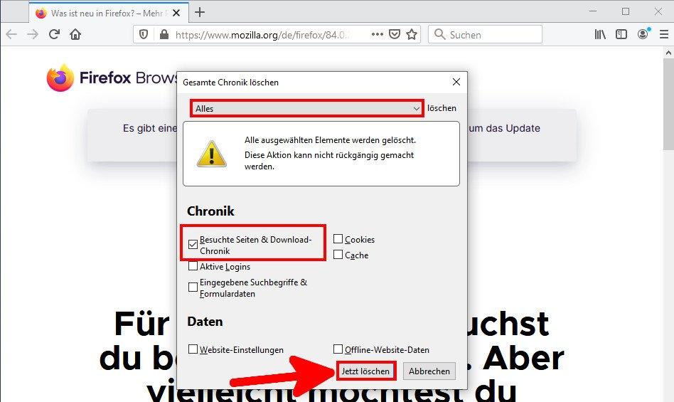 Hier löscht ihr den Browser-Verlauf in Firefox. Bild: GIGA