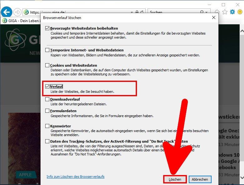 Hier löscht ihr den Browser-Verlauf im Internet Explorer. Bild: GIGA