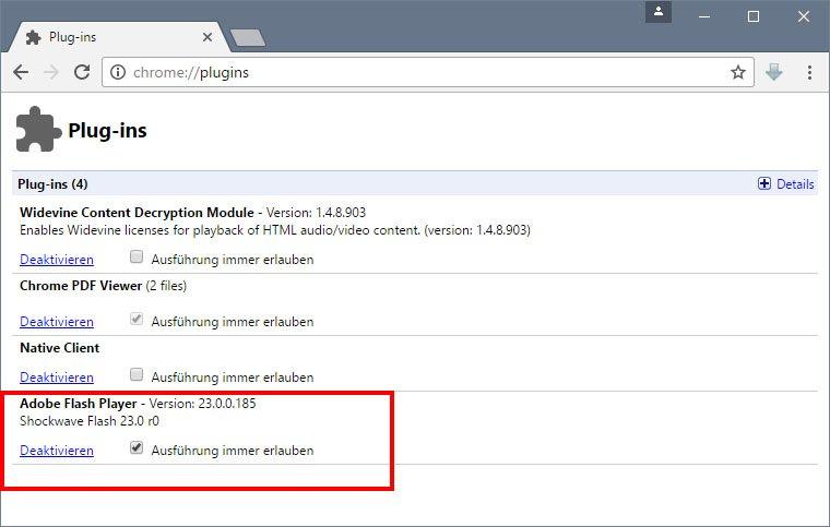 Chrome: Hier könnt ihr Plugins aktivieren.