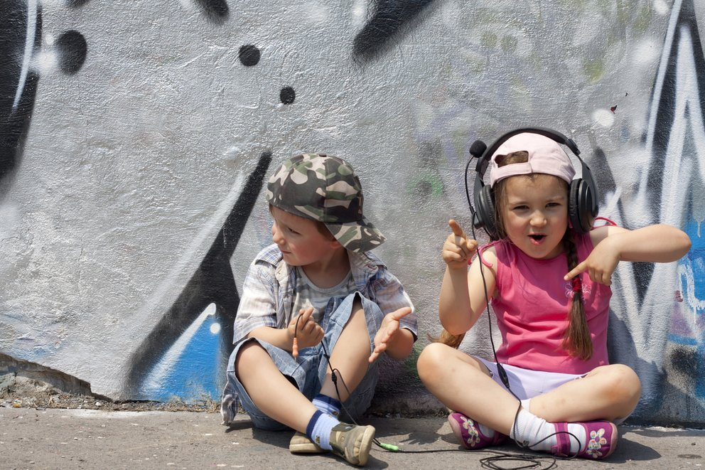 Children listen to music