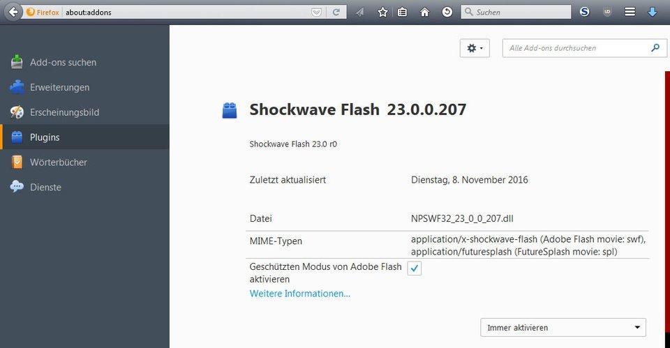 Firefox: Hier prüft ihr das Shockwave-Flash-Plugin, falls es nicht geladen werden konnte.
