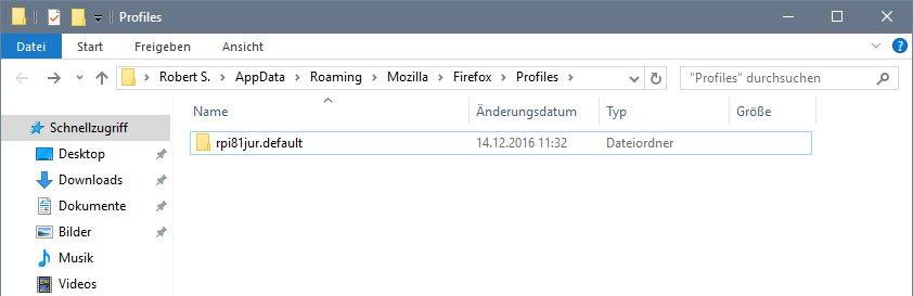 Firefox-Profilordner: Dieses Profil soll exportiert und woanders importiert werden.