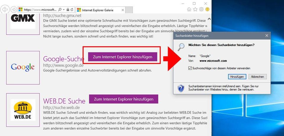 Internet Explorer: Google muss erst als Suchmaschine hinzugefügt werden.