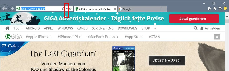 Internet Explorer: Klickt auf den kleinen Pfeil, um die zuletzt geöffneten Webseiten zu sehen.