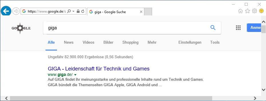 Suchmaschine geändert: Wenn wir etwas in die Adresszeile eintippen, sucht der Internet Explorer mit Google statt Bing.