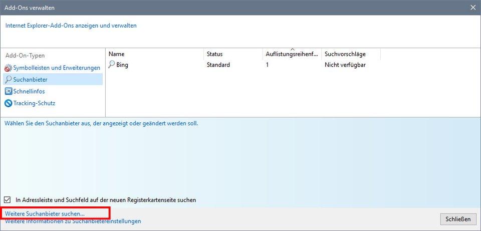 Internet Explorer: Klickt ihr, um weitere Suchanbieter hinzuzufügen.