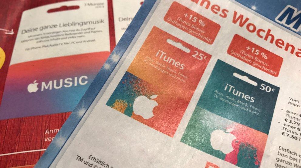 iTunes-Karten mit Rabatt im Dezember 2016